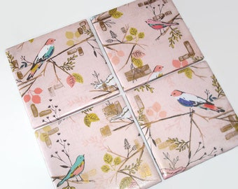 Soft Pink Bird Coasters Fully Wrapped Edges, Rustic Ceramic Tile Coasters, Cottage Chic Home Decor, Housewarming Gift - 039