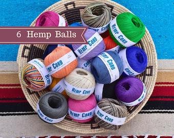 1mm Hemp Twine, 6 Balls, Dyed Hemp Twine,  Bulk Hemp Twine, Hemp Cord, Choose The Colors