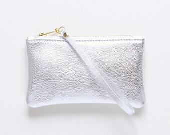 Silver Leather Wristlet, Metallic Leather Clutch, Leather Evening Clutch, Wedding Clutch, Bridal Clutch, Bridesmaid Gift, Wedding Party Gift