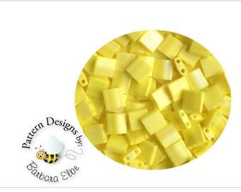 TILA Beads - Matte Opaque Yellow AB #TL 404FR - Miyuki Tila Beads - 19.6rams