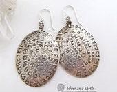 Big Silver Earrings, Sterling Silver Earrings, Large Solid Silver Earrings, Everyday Earrings, Handmade Silver Jewelry, Big Bold Earrings