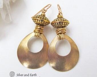 Brass Hoop Earrings, Gold Hoop Earrings, Boho Chic Jewelry, Brushed Gold Earrings, Handmade Brass Jewelry, Boho Earrings, Gold Tone Earrings