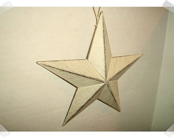 "Metal Off White Color Star w/hanging loop/6"" wide/ Primitive/ Home Decor/ Craft Supplies*"