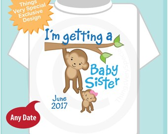 Personalized I'm getting a Baby Sister Shirt or Onesie Bodysuit, Boy's Onesie with Due Date of Baby Sister (05152017e)