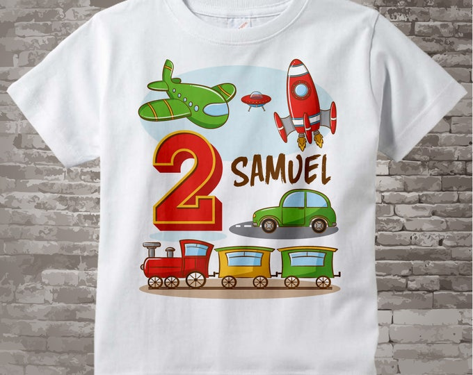 Transportation Birthday shirt or Onesie- Birthday Boy shirt - Plane Train Automobile Rocket Transportation birthday party theme 05032017d