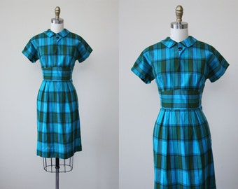 1950s Dress - Vintage 50s Dress - Turquoise Blue Olive Plaid Cotton Bust Shelf Day Dress S - Piping Hot Dress