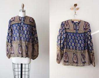 1970s Vintage Indian Cotton Top - 1970s India Tunic Olive Blue Block Print Gauzy Cotton Blouse - Deadstock - Novelty Bird Print
