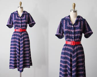 1940s Dress - Vintage 40s Dress - Patriotic Red White Floral Rayon Swing Dress L XL - Victory March Dress