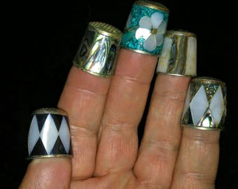 5 Different Silver Inlaid Thimbles-Mother of Pearl, Abalone, Turquoise