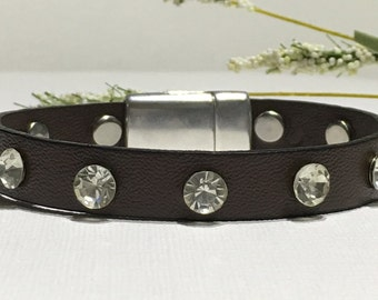 Bracelet-Vegan Leather Cuff-10mm Dark Brown Vegan Leather with Crystal Rivets-Zamak Magnetic Clasp-Lead/Nickel Free-Bling-Boho Jewelry-Her