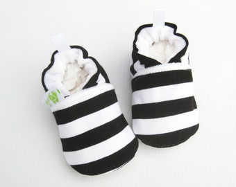 Classic Knits Vegan Black and White Stripes / All Fabric Soft Sole Baby Shoes / Made to Order