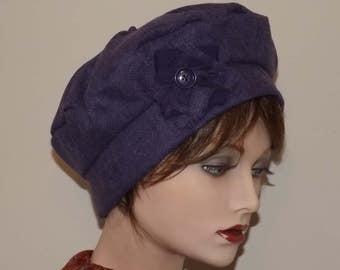 Harris Tweed Purple, Wool Fabric, Cloche Tam, Beret for Women