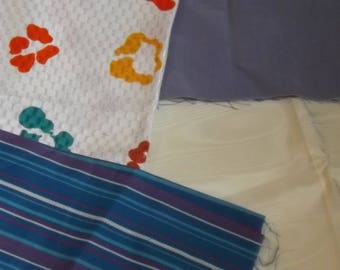 Multi Selection of Vintage Fabric Remnant Pieces,