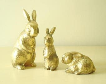 Brass rabbits, instant collection of 3 heavy vintage bunny figurines, stocking stuffers, shelf display, 1970s collectible, woodland animals