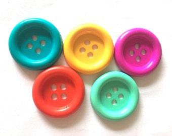 20 pcs - Big buttons - 4 hole - size 33 mm  mix colors