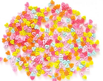 200 pcs Tiny Love Heart Buttons 4 mm Mix Sweet Colors Pink Tone Light Blue Orange Yellow