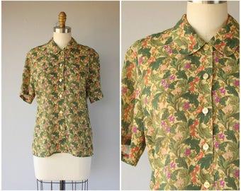 Vintage Floral Print Blouse | William Morris Print Blouse | Rayon Blouse | Button Up Blouse | Liberty Print Blouse (medium)