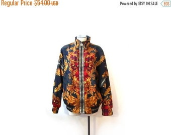 BTS SALE Vintage 90s BAROQUE Angels Tartan Zip Up Bomber Jacket s m l retro indie hipster hip hop vestiesteam red gold green eclectic club r