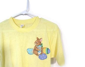 BTS SALE Vintage 80s LITLLE Bunny Yellow Screen Print Cotton T-Shirt  s m