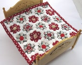 Dollhouse Miniature Patchwork Quilt in 12th Scale - Cream and Red Grandmother's Garden