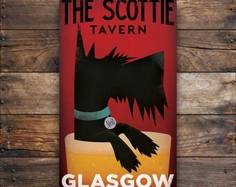 SCOTTISH TERRIER Scottie Dog Free Customization Personalization Beer Brewing Co. ILLUSTRATION Giclee Print or Ready-to-Hang Canvas signed