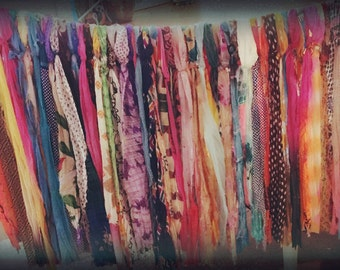 Bohemian rag curtain made from vintage scarves & sheer material