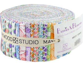"""NEW! Berries & Blossoms Floral Fabric Jelly Roll Maywood Studio - 40 strips 2.5"""" wide - 100% Cotton Sushi Roll Strips"""