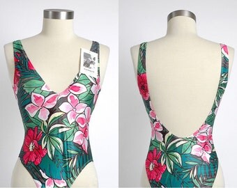 vintage 1990s bathing suit * French  Cacharel label * new old stock * tropical print + dipped neckline * s m l * 90s vintage swimsuit LG069