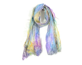 Pastel Cobweb Felted Scarf Wool Winter Scarf Spring Long Scarf Womens Scarf Winter Accessory in Pink Yellow Blue Gray OOAK Gifts for Her