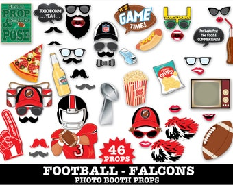 Falcons Football Photo Booth Props - Bowl Party- Football Party - Instant Download PDF - 46 DIY Printable Props