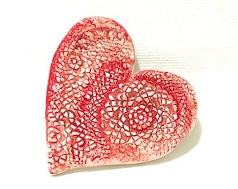 Pottery Heart, Ceramic Heart Dish With Light