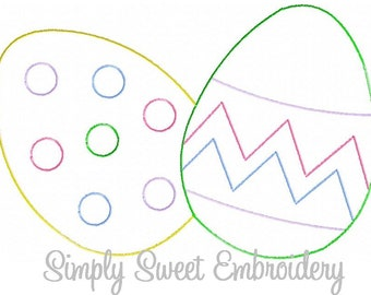 Sketch Easter Eggs Machine Embroidery Design