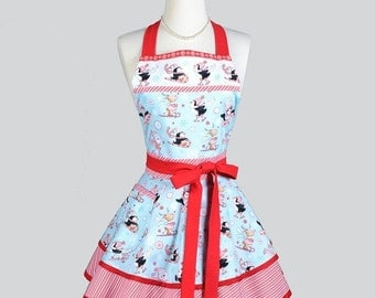 SALE Ruffled Retro Apron . Womens Vintage Kitchen Cooking Christmas Peppermint Skating Penguins Apron Cute Flirty Full Pinup Womans Apron