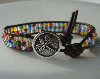 Rainbow Beaded Leather Bracelet