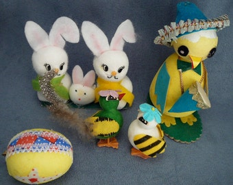 Vintage Easter Spun Cotton & Flocked Bunnies Chicks Mariachi Chicken Lot