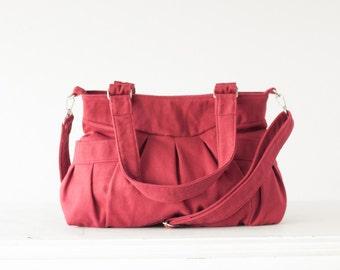 Crossbody bag in crimson red cotton, messenger purse convertible bag over the shoulder bag - Elessa bag