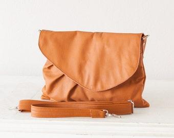Brown leather clutch, oversized clutch envelope clutch crossbody bag purse crossover  large clutch - Erato clutch