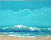 Beach painting with large wave, ocean wave painting 18x24 inch turquoise and blue seascape art with eye of the wave, seagulls