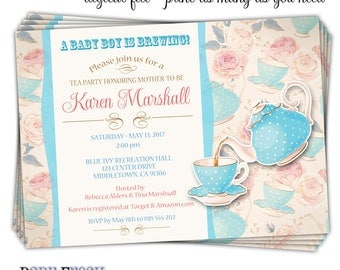 Tea Party Baby Shower Invitation • Baby Shower Tea Party Invitation • Tea Cup Invitation • Tea Time Invitation • Baby Shower Tea Cup Invite
