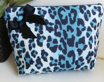 Blue leopard  fabric  purse, make up bag , crafts  , handmade,Claudia Candeias, ready to ship