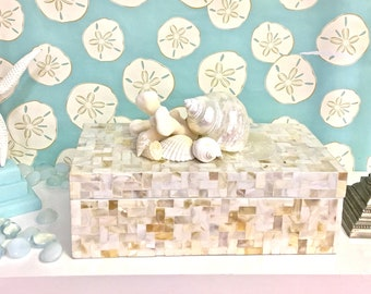 Beach Decor - Large Mother of Pearl Box with Natural Coral and Shells - beach decor coastal style storage