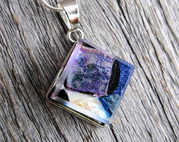 Purple Jewelry, dichroic pendant, fused glass pendant, dichroic jewelry, fused glass jewelry, glass pendant, glass jewelry, rainbow jewelry