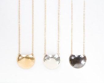 Eclipse Necklace - mixed media gold fill pendant