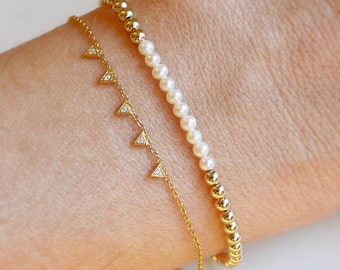 Pearl Bracelet | Gold and Pearl Bracelet | Freshwater Pearl Bracelet | Dainty Bracelet