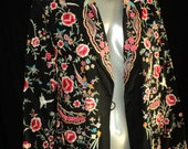 Vintage Chinese Embroidered Jacket Pockets Silk Lining Floral, Butterflies, Birds, 1920's-1930's Excellent Condition