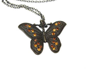 Vintage Butterfly Pendant Necklace, Topaz Rhinestone Crystals, 18 inch Chain, Artisan Vintage Jewelry, Gift for Her