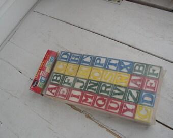 Vintage Wood Letter Blocks Set of 32