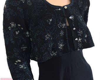 Black Bridal Crop Jacket - beaded crochet, short jacket, with beads, crystals, sequins, and vintage buttons FREE SH