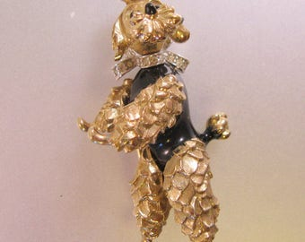 Vintage PANETTA Ornate Gold Tone Pave Rhinestone Dancing Poodle Dog Brooch Pin Pendant Moving