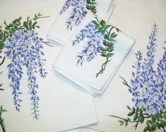 4 Linen Placemats or napkins, Vintage, periwinkle blue, delphimium